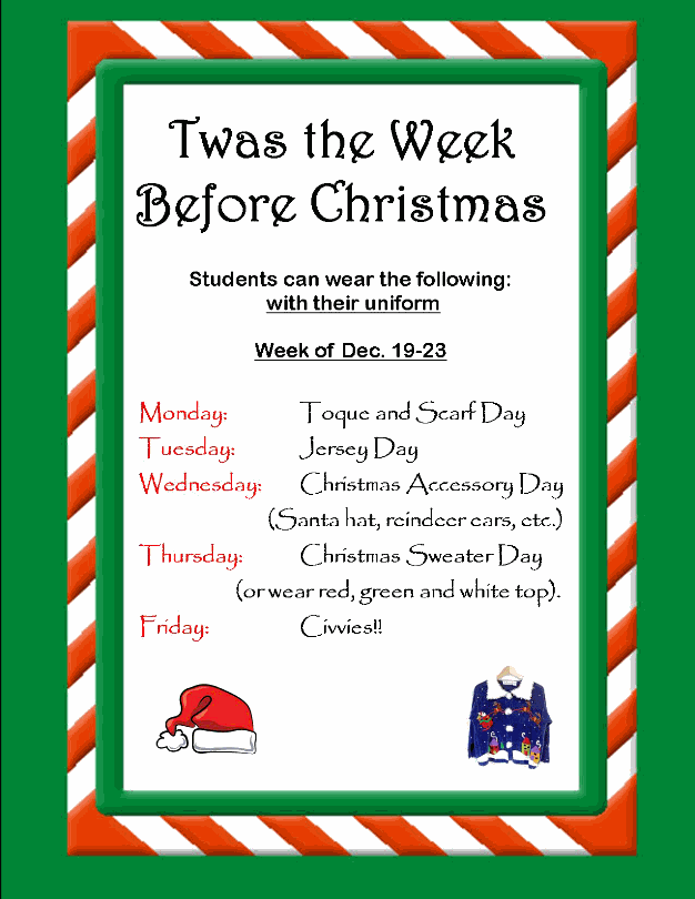 week before christmas themed days st gregory the great catholic academy - What Day Of The Week Is Christmas On