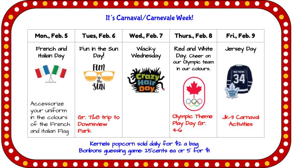 carnival week is february 5 9 check out the attachment for daily