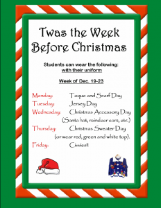 Week Before Christmas Themed Days
