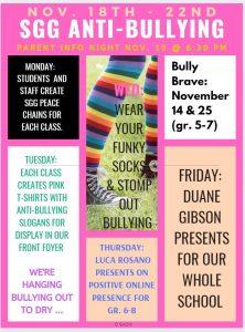 Nov. 18-22: Anti-Bullying Week at SGG!